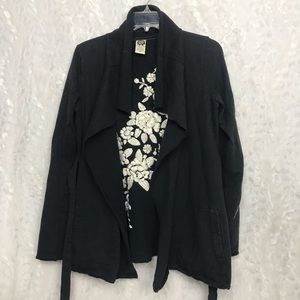 Lucky Brand Open Front Black Medium M Blazer White